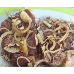 Marinated pork neck steaks,...